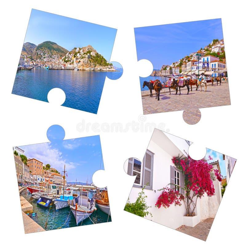 Collage della foto con le foto Grecia dell'isola della hydra immagini stock