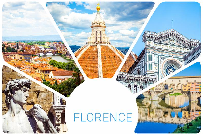 Collage della foto da Firenze - cupola Brunelleschi, statua di David da Michelangelo, Ponte Vecchio, cattedrale del di Santa Mari fotografia stock libera da diritti