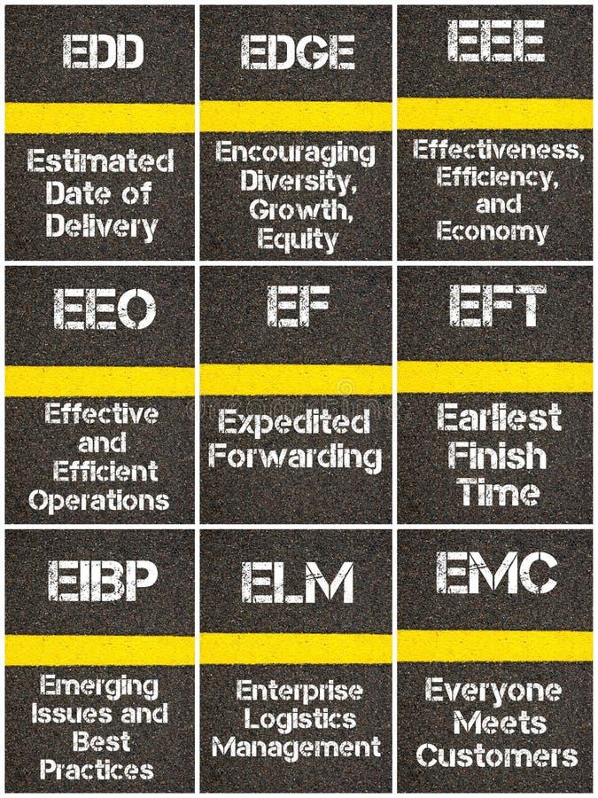 Collage della foto degli acronimi di affari illustrazione di stock