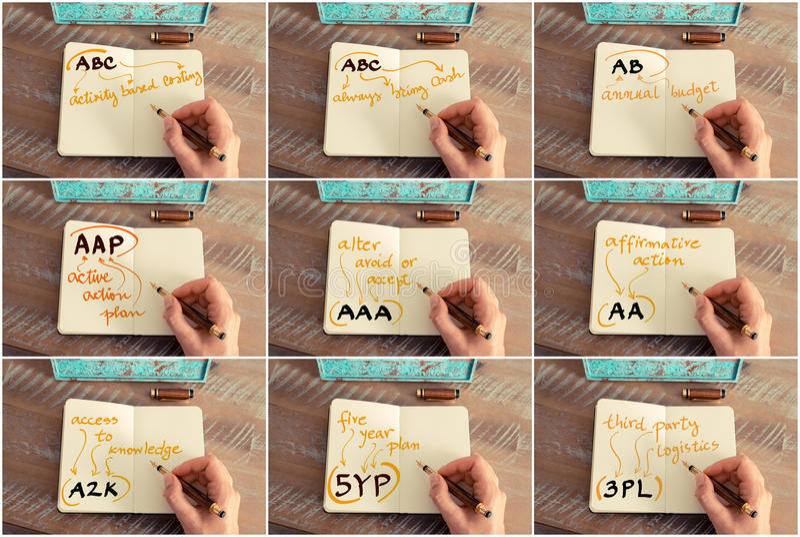 Collage della foto degli acronimi di affari scritti sul taccuino fotografie stock