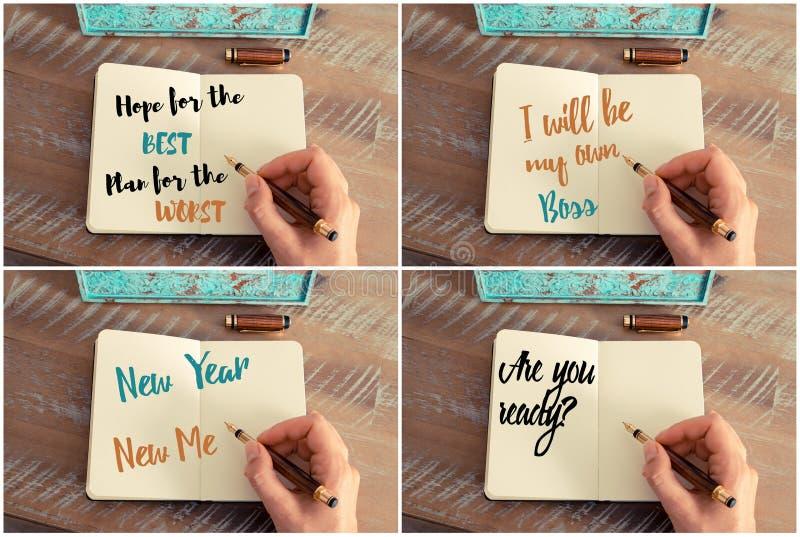 Collage della foto dei messaggi motivazionali scritti a mano fotografia stock