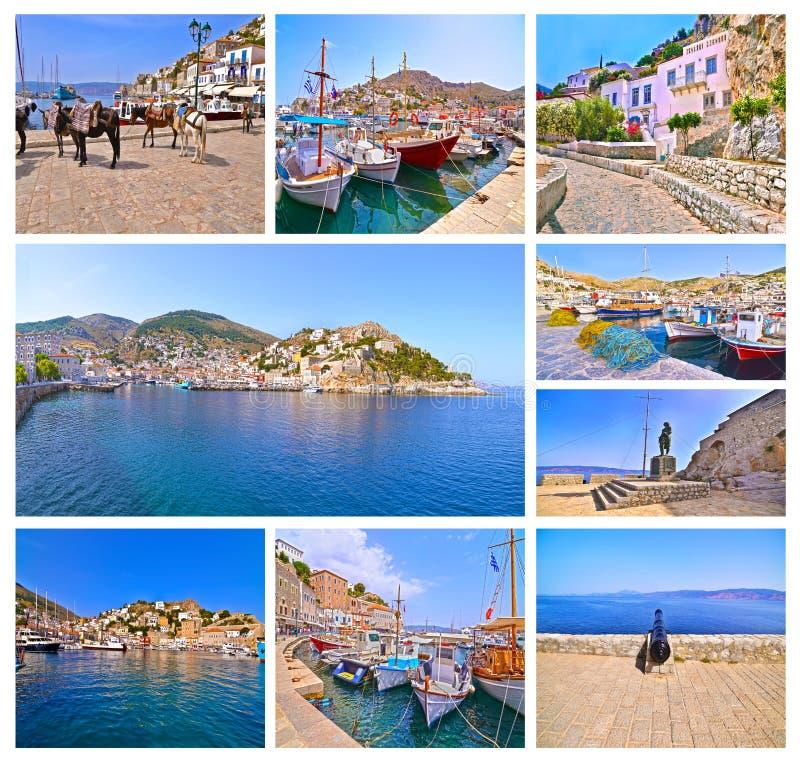Collage della foto dei sandali greci della Boemia fotografia stock