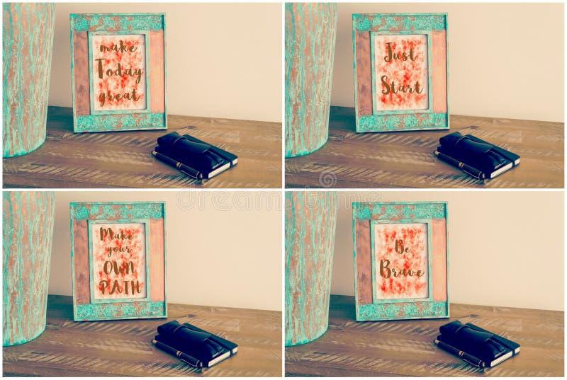 Collage della foto dei telai d'annata della foto con i messaggi motivazionali fotografie stock libere da diritti