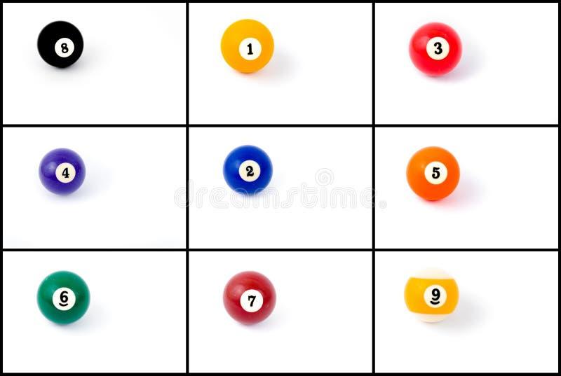 Collage della foto delle palle da biliardo fotografia stock libera da diritti