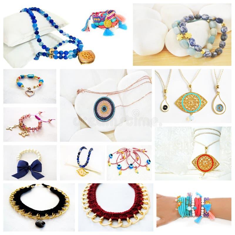 Collage della foto di gioielli greci fotografia stock