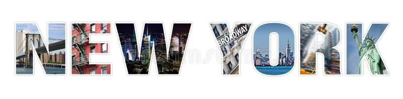 Collage della foto di NEW YORK delle lettere isolato su bianco illustrazione vettoriale