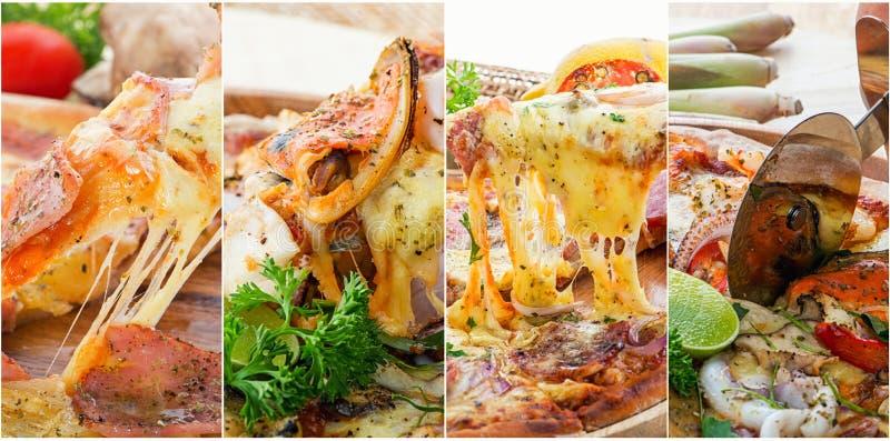 Collage della foto di pizza immagine stock libera da diritti