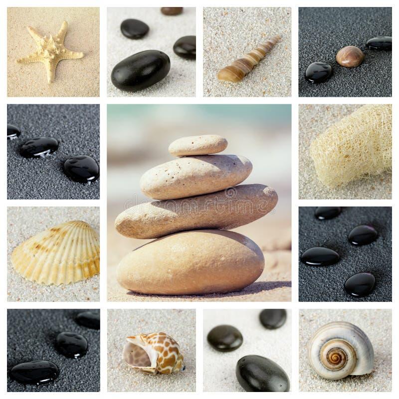 Collage della foto di tema del mare composto di immagini differenti fotografia stock libera da diritti