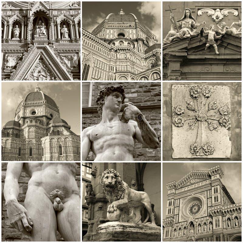 Collage della foto di viaggio del centro storico di Firenze, Italia fotografia stock