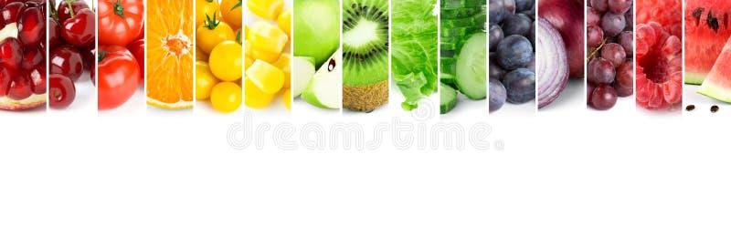 Collage della frutta e delle verdure di colore fotografia stock