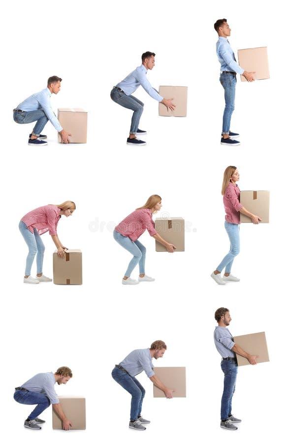 Collage della gente che solleva scatola di cartone pesante su bianco Concetto di posizione fotografia stock