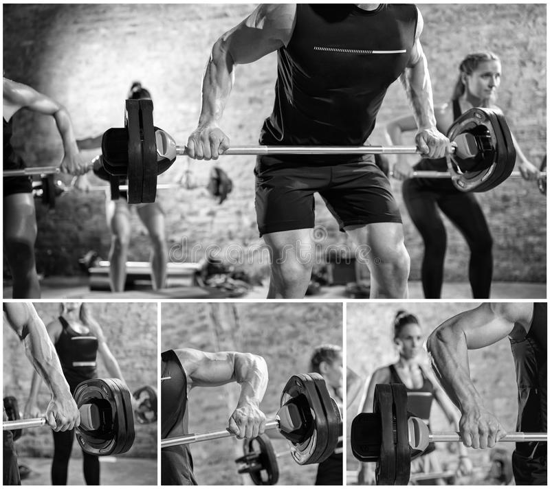 Collage della gente con i pesi fotografia stock libera da diritti