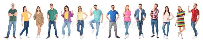 Collage della gente emozionale su fondo bianco immagini stock libere da diritti