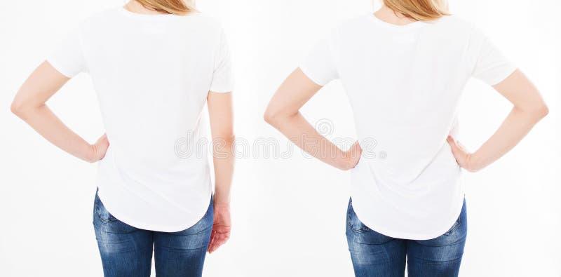 Collage della maglietta, insieme Ragazza in maglietta bianca, di due donne della maglietta vista indietro, spazio in bianco immagini stock libere da diritti
