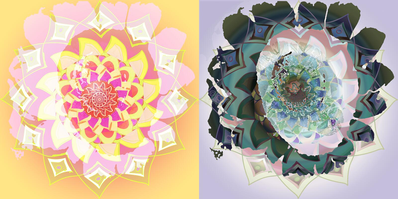 Collage della mandala del girasole, immagine d'annata, in giallo, rosa, porpora, verde Fondo piano fotografie stock libere da diritti