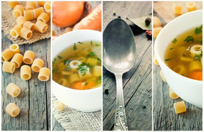 Collage della minestra di verdura fotografia stock libera da diritti