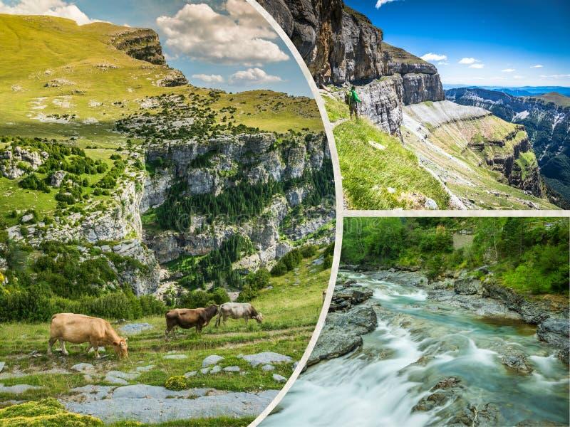 Collage Con Il Paesaggio Della Montagna Ed Il Simbolo ...