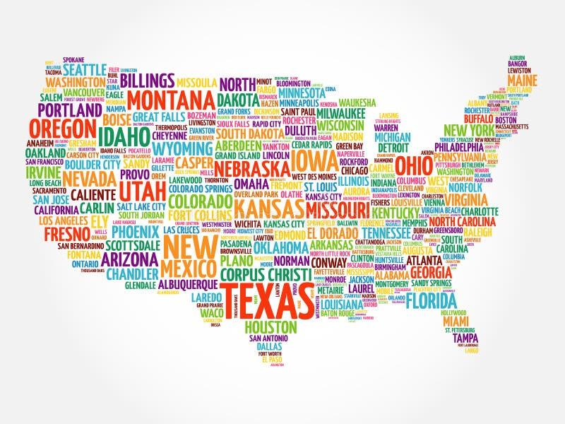 Collage della nuvola di parola della mappa di U.S.A. royalty illustrazione gratis