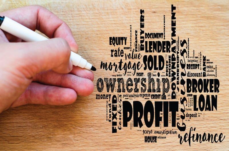 Collage della nuvola di parola di profitto fotografie stock