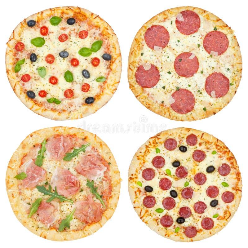 Collage della raccolta delle pizze della pizza da sopra isolato su bianco immagine stock
