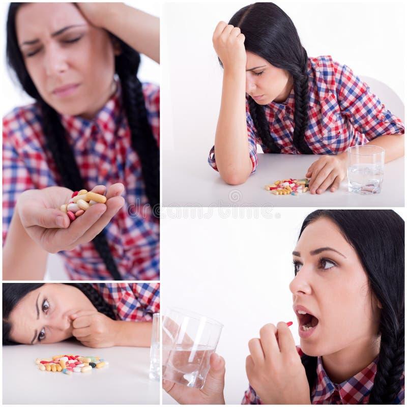 Collage della ragazza che prende le pillole fotografia stock