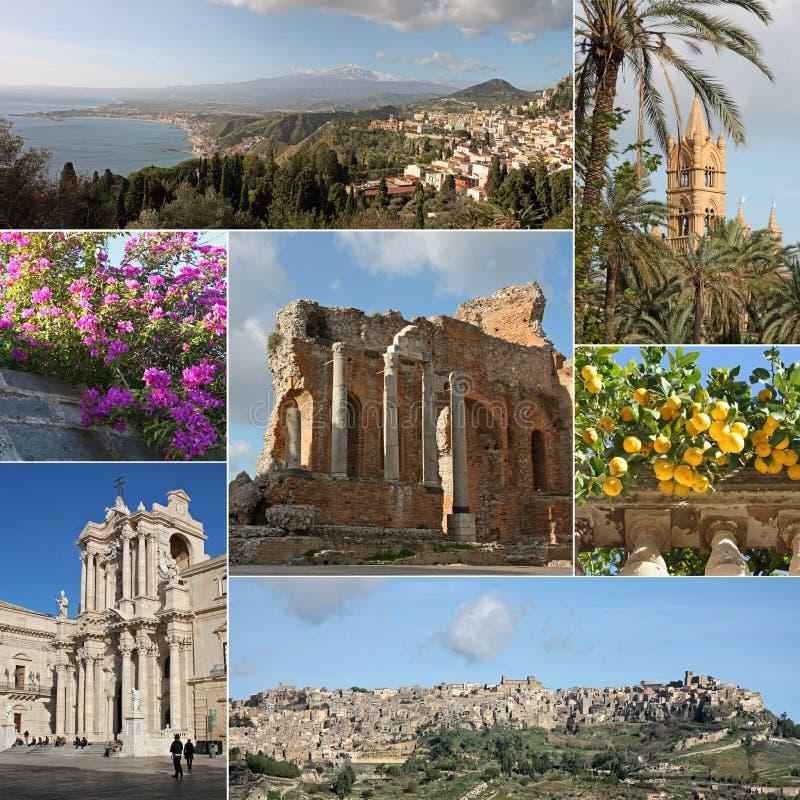 Collage della Sicilia immagini stock