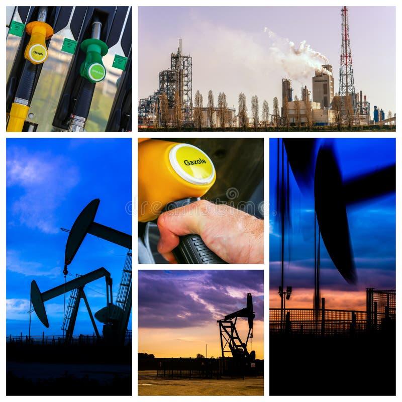 Collage della stazione di servizio e del prodotto della pompa del combustibile derivato del petrolio immagini stock