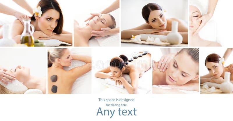 Collage della stazione termale Tipi differenti di massaggio e di skincare sopra isolat immagini stock libere da diritti
