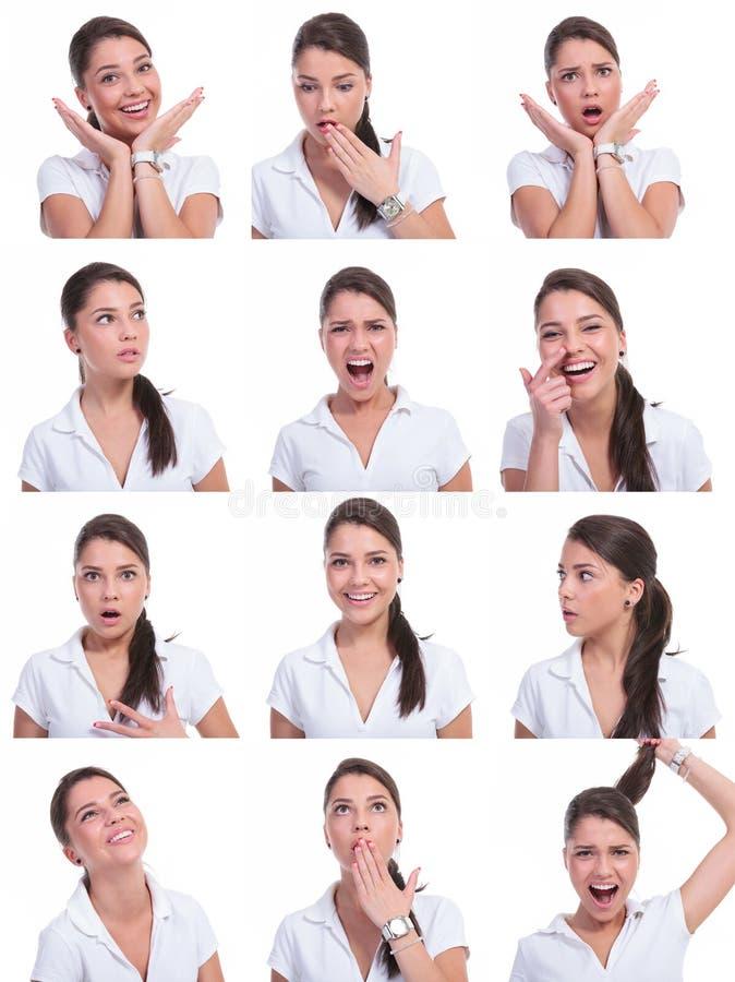 Collage della stessa donna fotografia stock