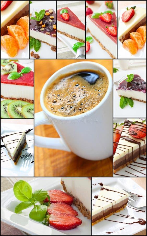 Collage della torta di formaggio fotografia stock libera da diritti