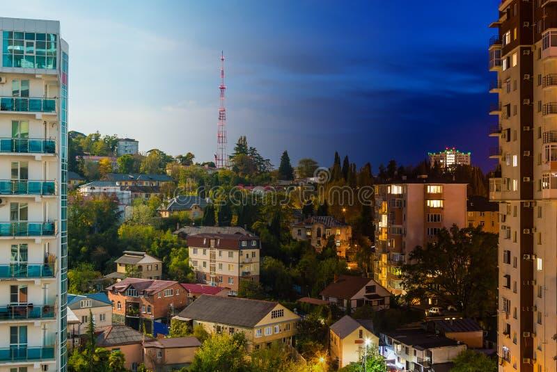 Collage della vista di notte e di giorno di Soci, Russia fotografie stock