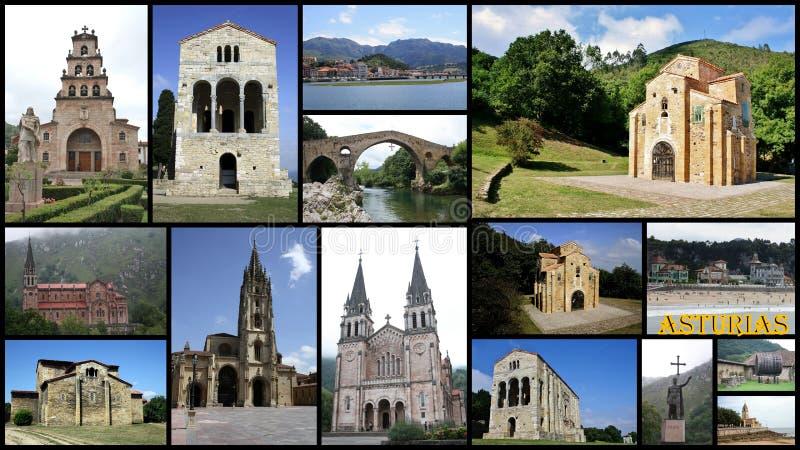 Collage delle Asturie in Spagna fotografia stock