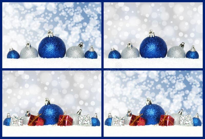Collage delle composizioni di Natale con le decorazioni, presente e fotografie stock