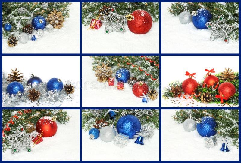 Collage delle composizioni di Natale con le decorazioni, presente e immagine stock