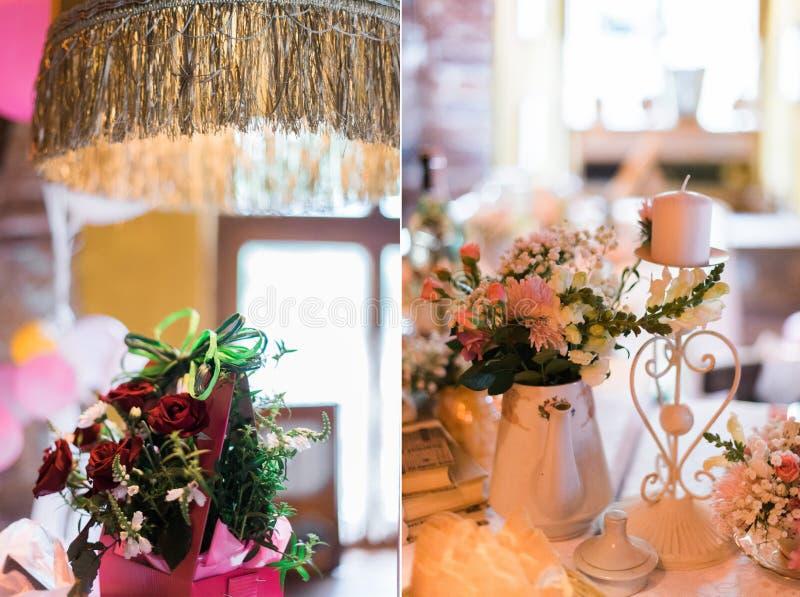 Collage delle decorazioni di nozze con i fiori in ristorante fotografia stock