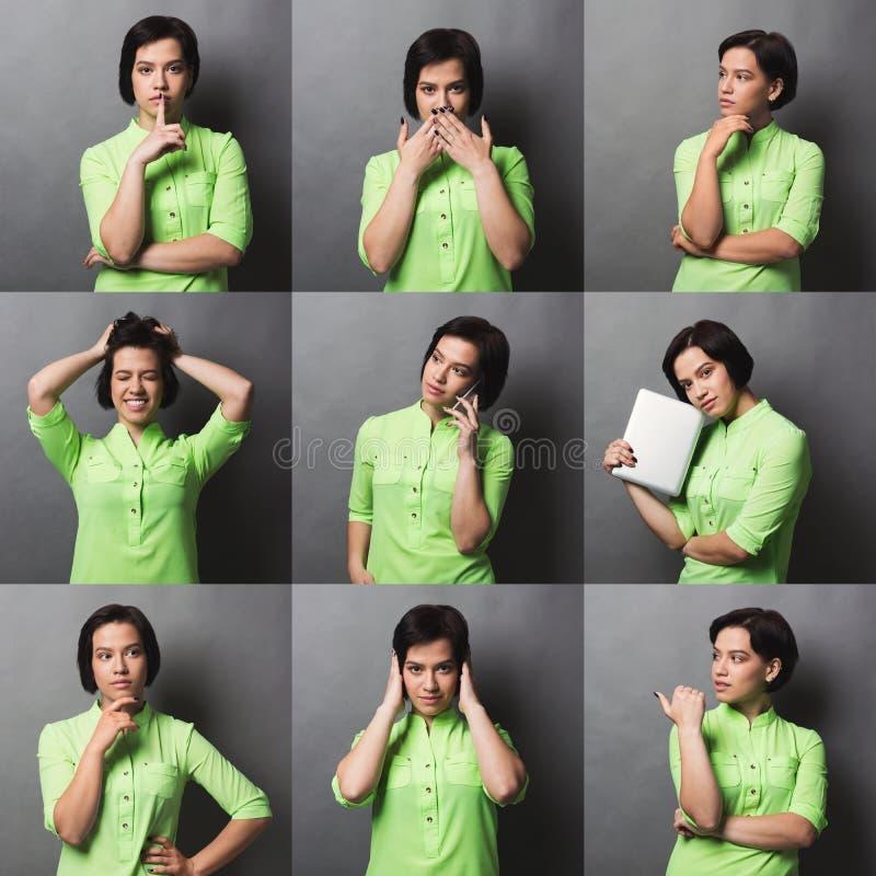 Collage delle emozioni casuali della donna fotografia stock libera da diritti
