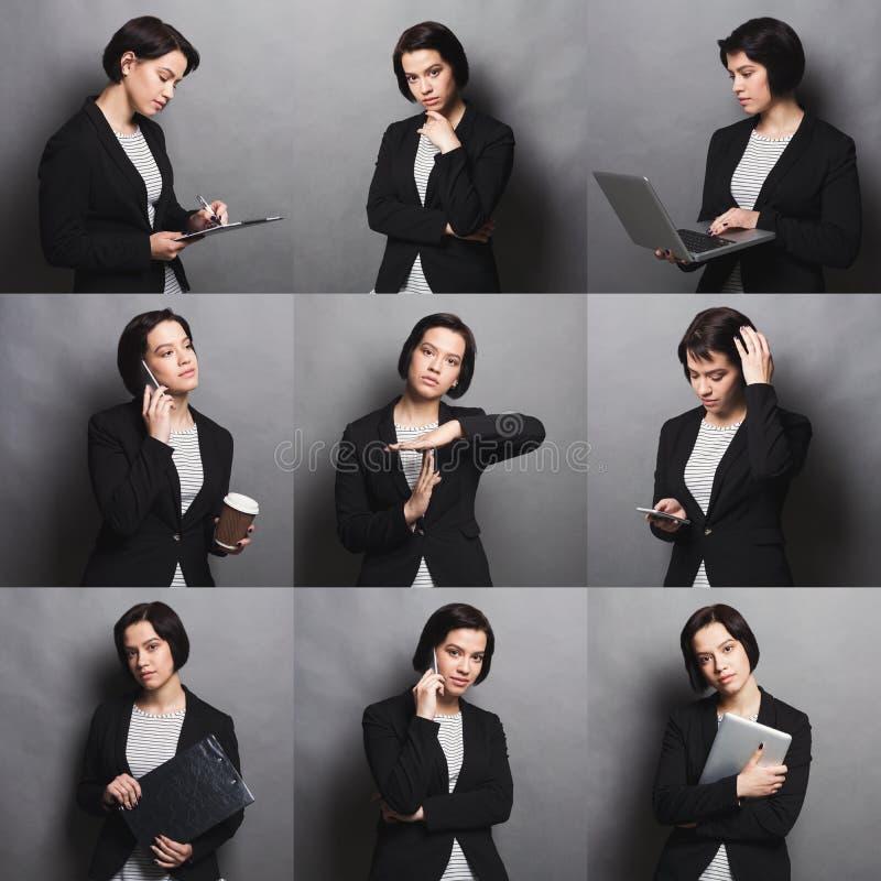 Collage delle emozioni della donna di affari fotografie stock libere da diritti