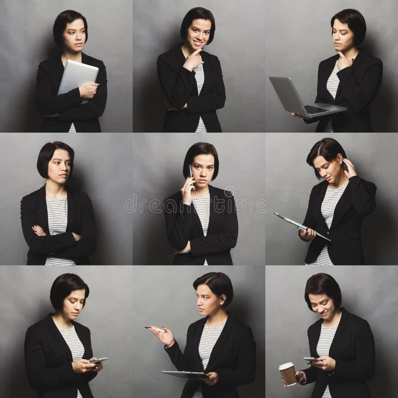 Collage delle emozioni della donna di affari fotografie stock