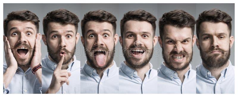 Collage delle emozioni felici e sorprese immagine stock