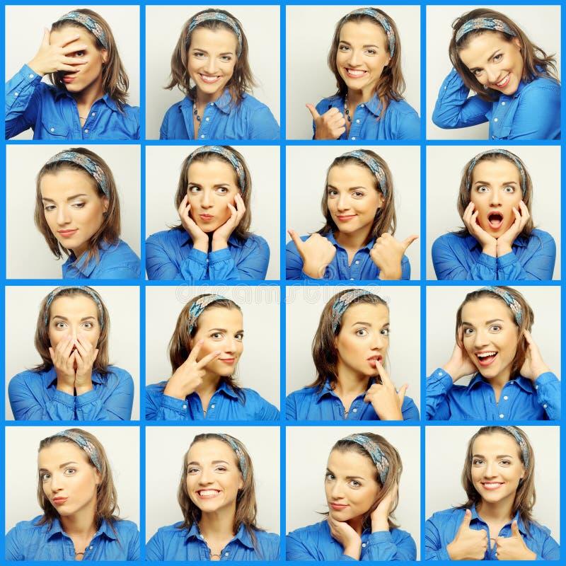 Collage delle espressioni del fronte della giovane donna fotografia stock