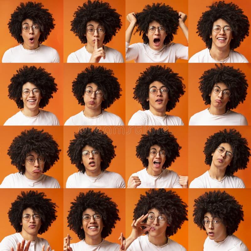 Collage delle espressioni e delle emozioni del giovane fotografie stock