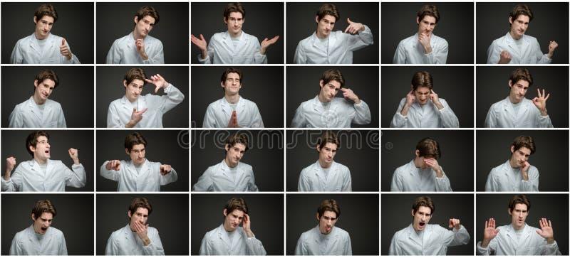 Collage delle espressioni facciali differenti immagini stock