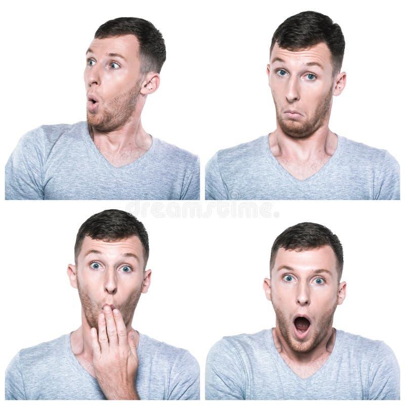 Collage delle espressioni sorprese, stupite, domandantesi del fronte immagine stock