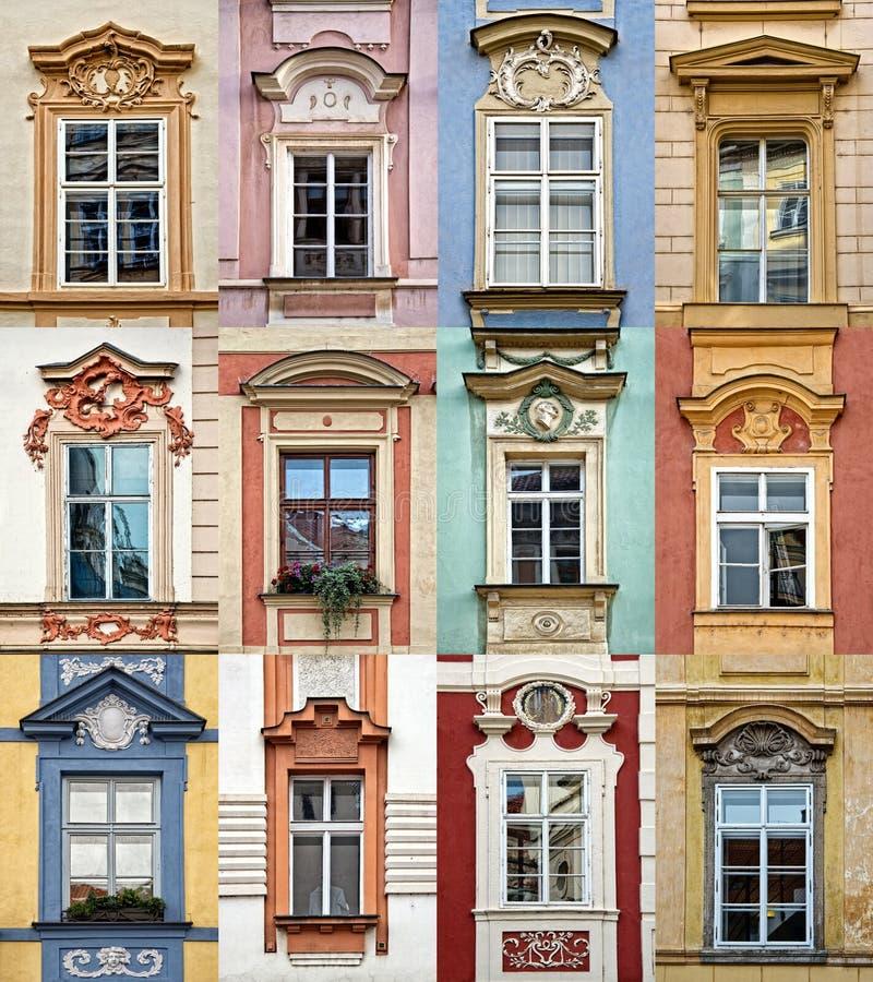 Collage delle finestre variopinte con il frontone di Praga immagini stock libere da diritti
