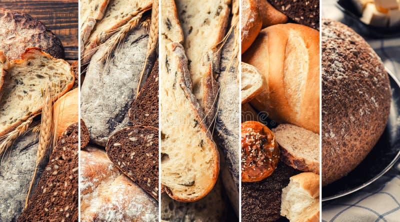 Collage delle foto con i prodotti della panificazione freschi fotografia stock libera da diritti