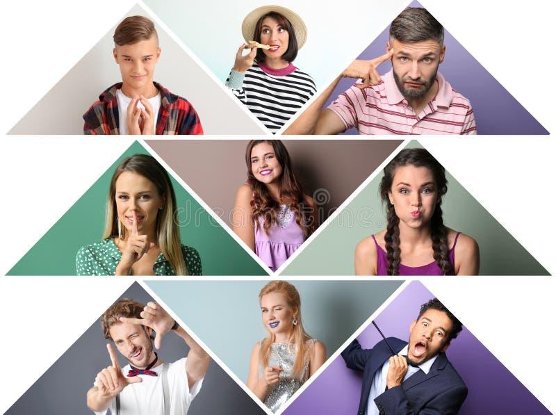 Collage delle foto con la gente emozionale differente su fondo bianco fotografie stock