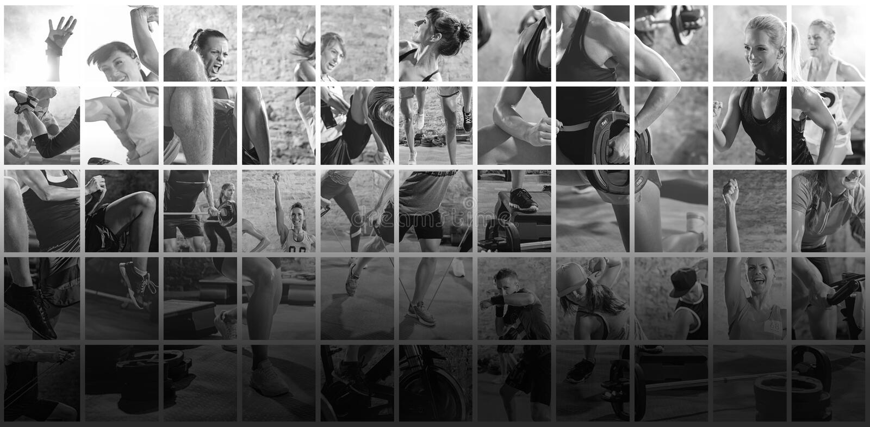 Collage delle foto di sport con la gente immagine stock