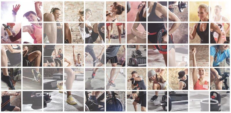 Collage delle foto di sport con la gente fotografie stock libere da diritti