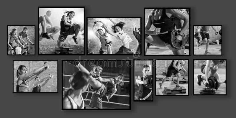 Collage delle foto di sport con la gente immagini stock