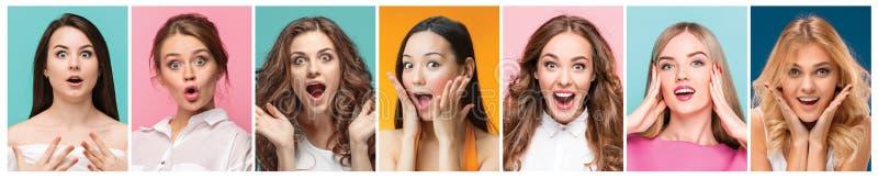 Collage delle foto delle donne felici sorridenti attraenti fotografia stock libera da diritti